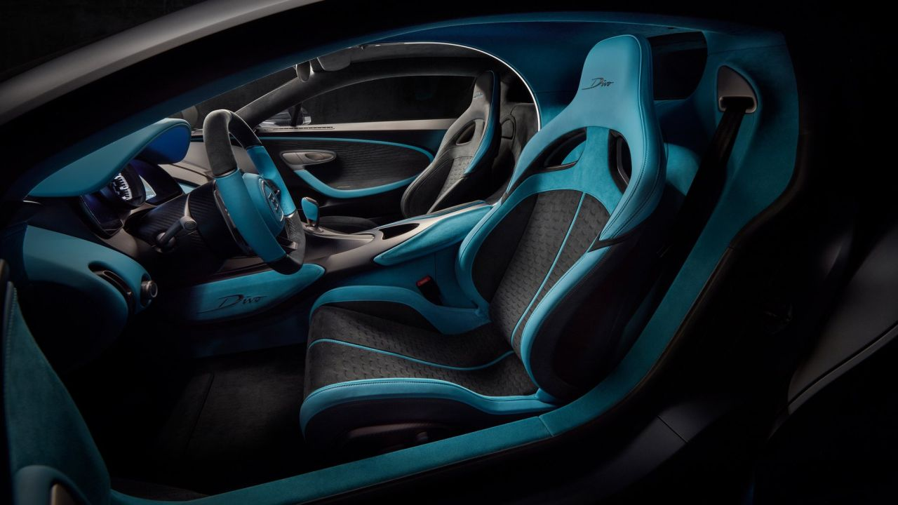 Weight savings come by way of an adjustment to the front diffuser flaps and lack of storage compartments in the central console and door trims (Source: Bugatti Facebook page)