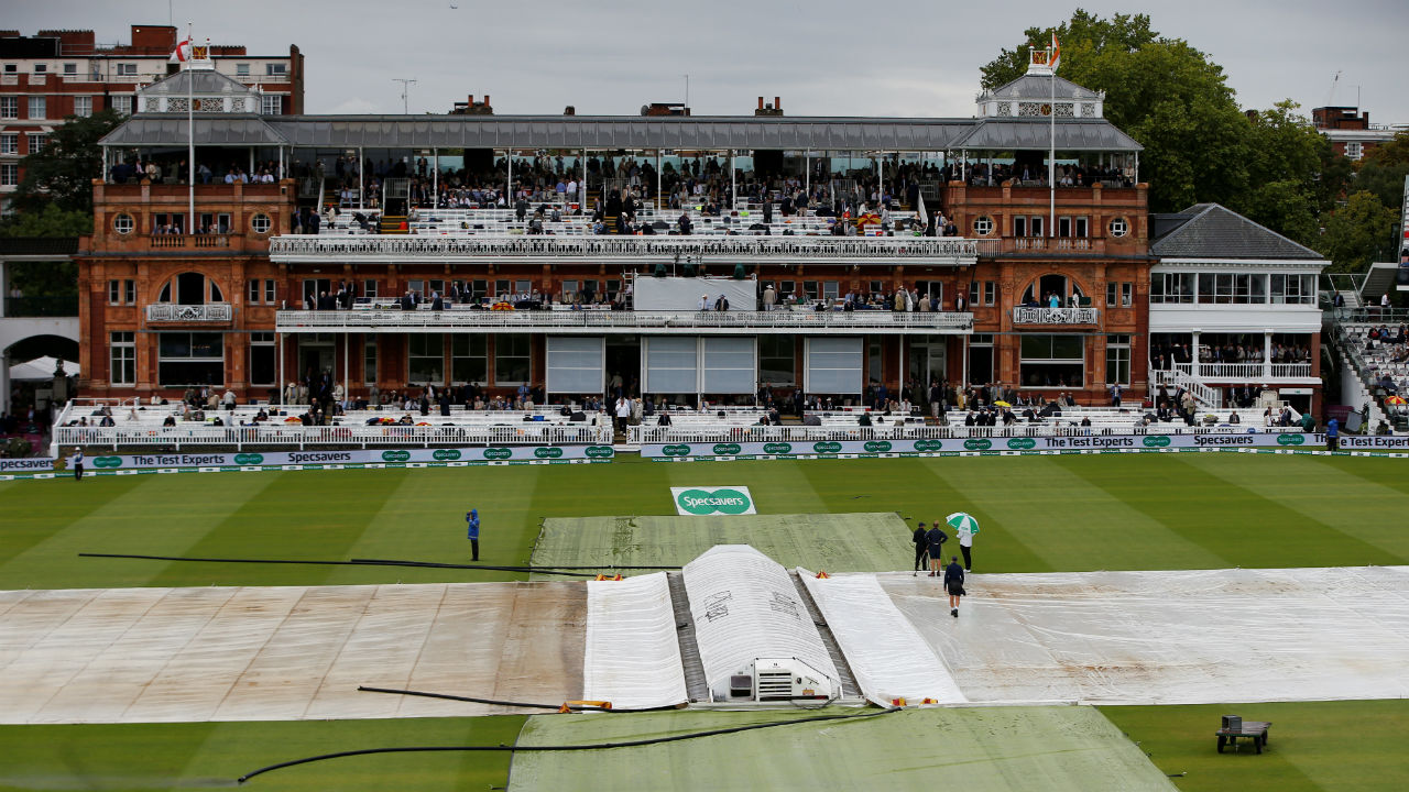 Much to India's relief, it began drizzling again at Lord's. The play was halted for a long time as the groundsmen worked hard to keep the pitch dry. (Image: Reuters)