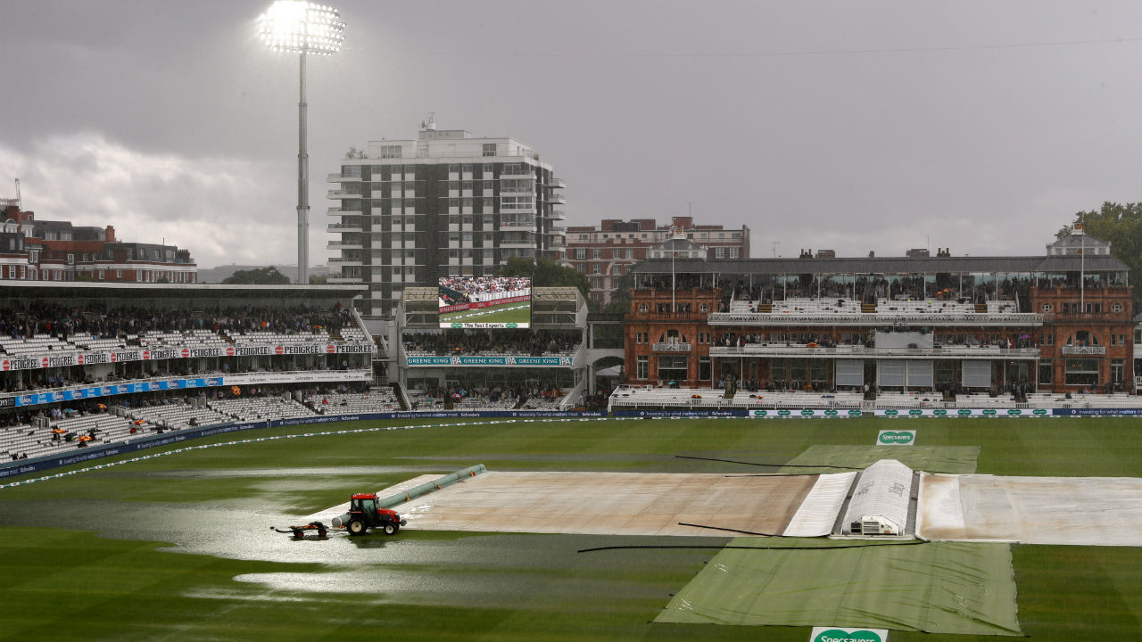 Rain soon resumed at Lord's much to the frustration for players and spectators. The pitch was covered in time but the out-filed looked like a small puddle . (Image: Reuters)