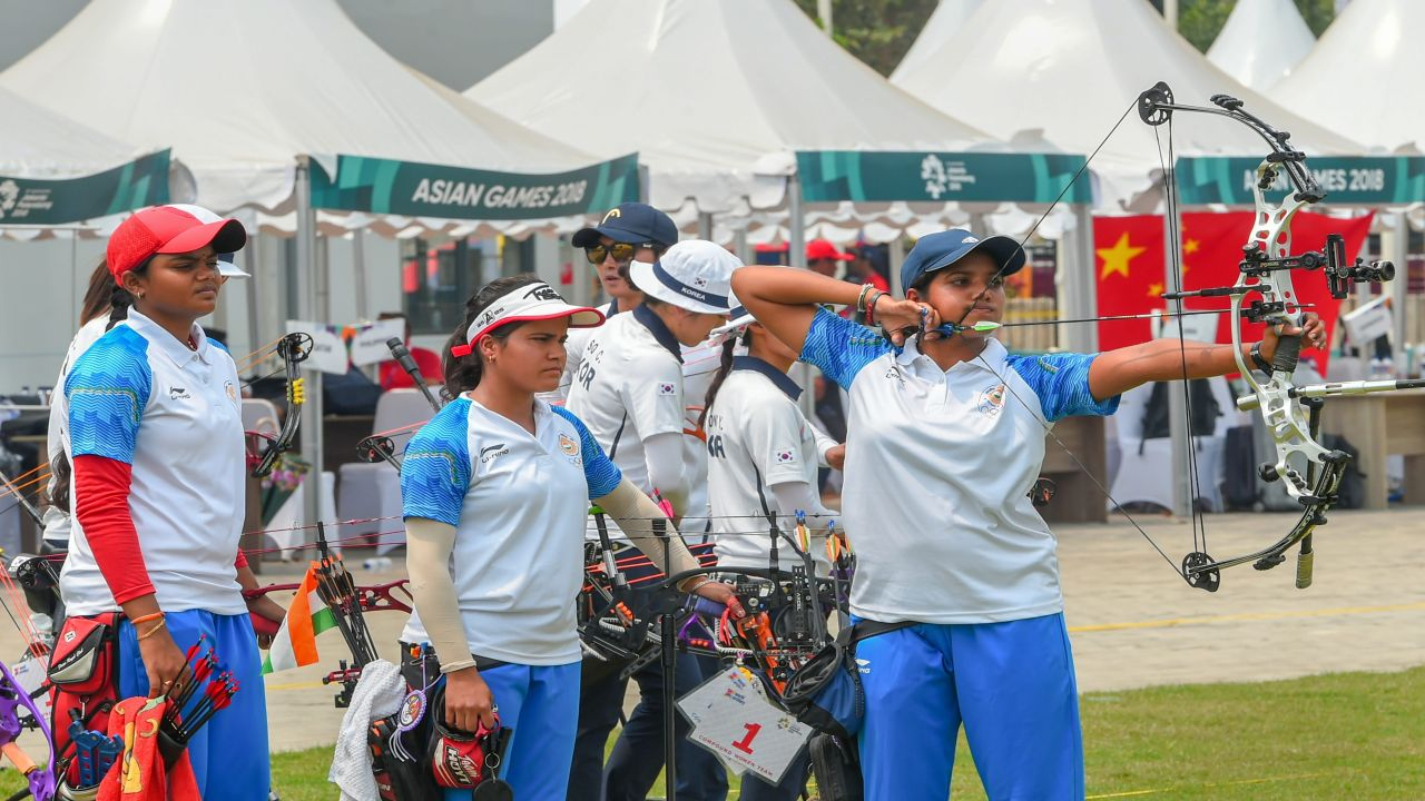 Indian archery team members compete in the women's compound team archery final match against Korea at the Asian Games 2018, in Jakarta. (Image Source: PTI)