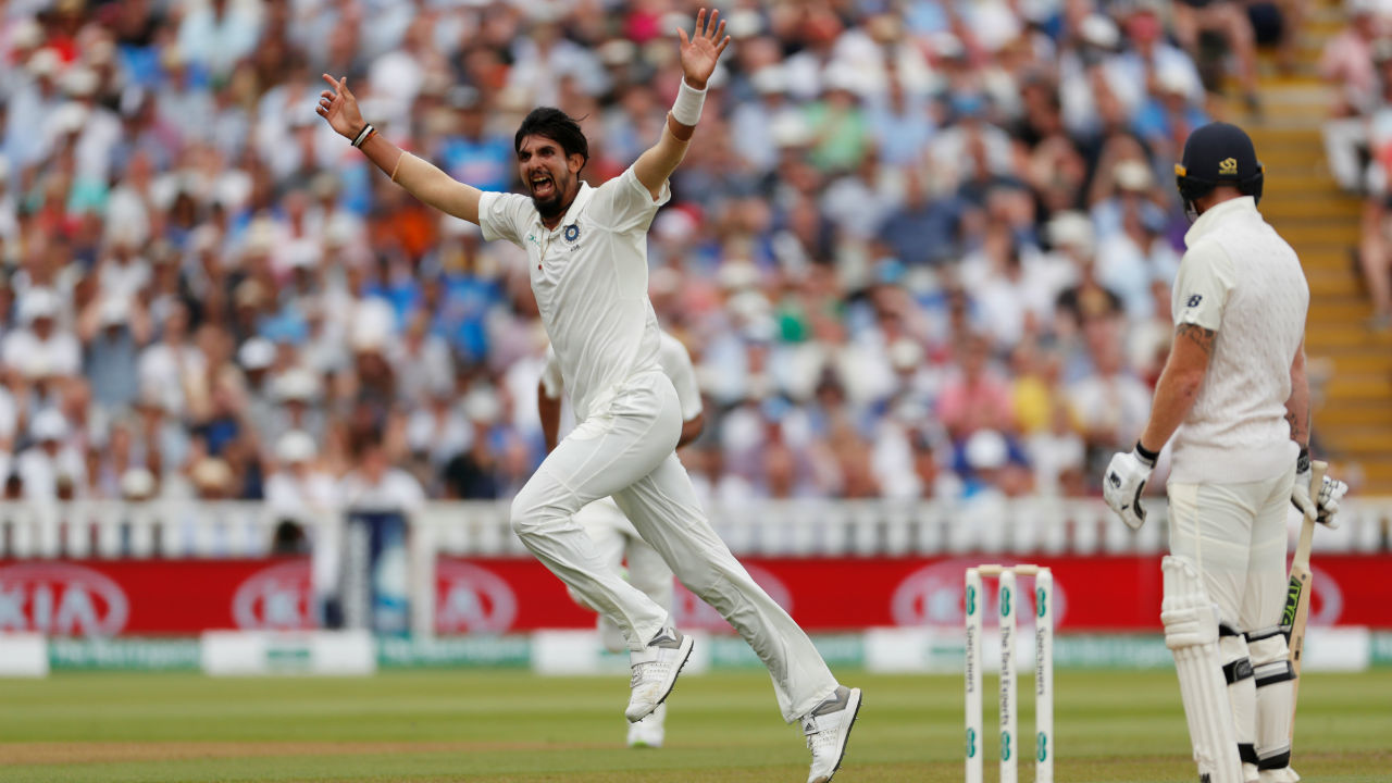 Ishant Sharma swung the match firmly in India's favour by picking up 3 wickets in an over. He first got Bairstow and Stokes out, both batsmen getting caught at slips. When he came back to finish the over after Lunch, he managed to get Buttler to edge one through to the keeper. (Image: Reuters)