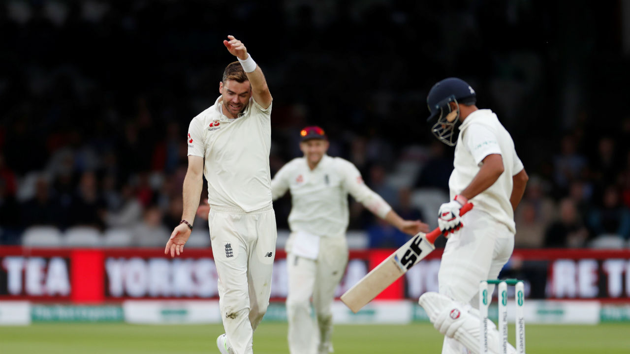 James Anderson continued is fine spell and took the wickets of Mohammed Shami and Kuldeep Yadav . He finished the match with nine wickets in his kitty. (Image-Reuters)