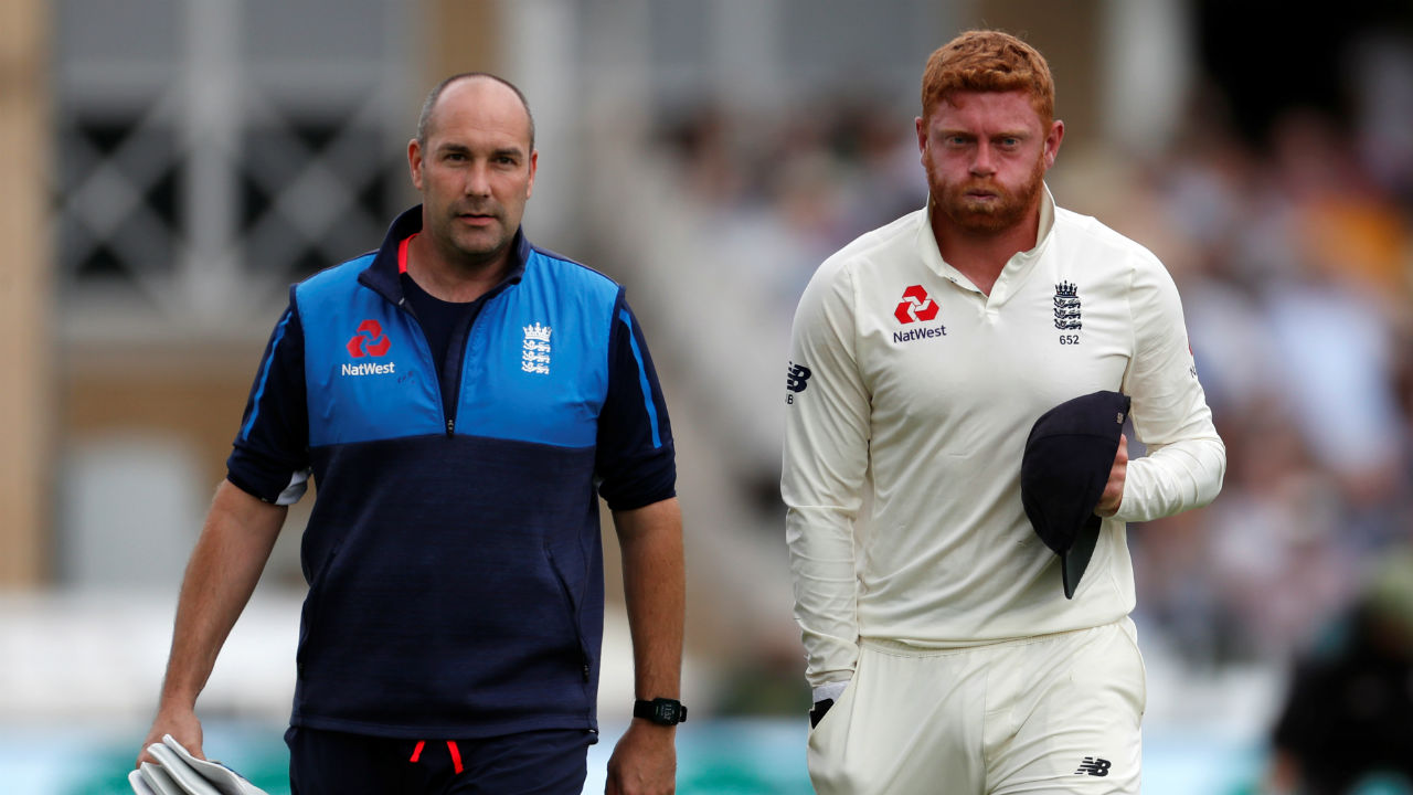 England wicketkeeper Jonny Bairstow got his left hand injured while keeping wickets to James Anderson. Bairstow had to leave the field to get his hand examined. England Cricket later posted a tweet saying that Bairstow sustained a small fracture on his left middle finger. Jos Buttler took up wicket-keeping duties in Bairstow's absence. (Image - Reuters)