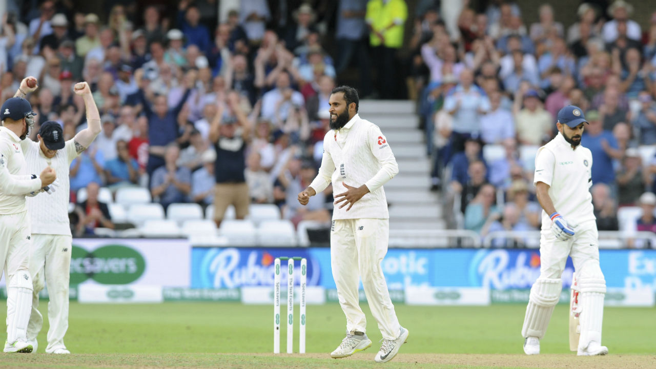 Adil Rashid then got the all important wicket of Indian skipper Virat Kohli. Kohli who was looking good for yet another century attempted a cover drive off Rashid's delivery only to edge the ball to Ben Stokes at first slip. Kohli was dismissed on 97. (Image - AP)