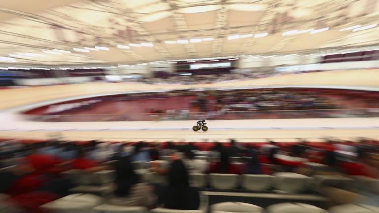 Cycling Track - 2018 Asian Games - Men's 4000m Individual Pursuit - Qualification - Jakarta International Velodrome - Jakarta, Indonesia - Mohd Zariff Mohamad Nur Aiman of Malaysia competes. Image Source: Reuters.