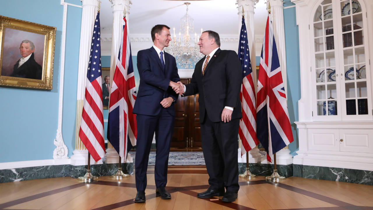 US Secretary of State Mike Pompeo and British Foreign Secretary Jeremy Hunt meet at the US State Department in Washington. (Image: Reuters)