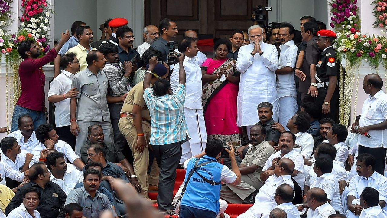 Prime Minister Narendra Modi after paying his last respects to DMK chief, M Karunanidhi, at Rajaji Hall in Chennai. Karunanidhi passed away on Tuesday at the age of 94. (Image Source: PTI)