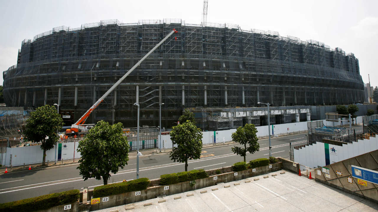 The construction site of the New National Stadium, the main stadium of Tokyo 2020 Olympics and Paralympics, is seen in Tokyo, Japan. (Photo: Reuters)