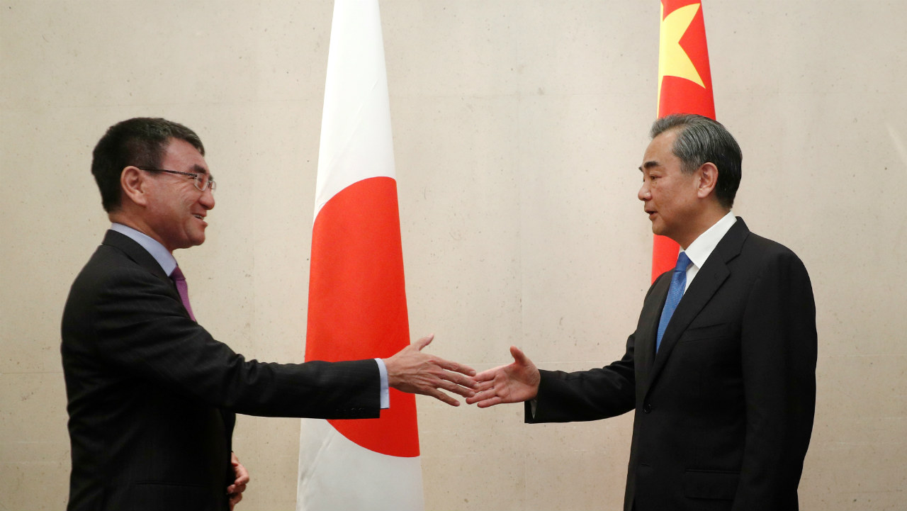 Japan's Foreign Minister Taro Kono meets with China's Foreign Minister Wang Yi on the sidelines of the ASEAN Foreign Ministers' Meeting in Singapore. (Photo: Reuters)