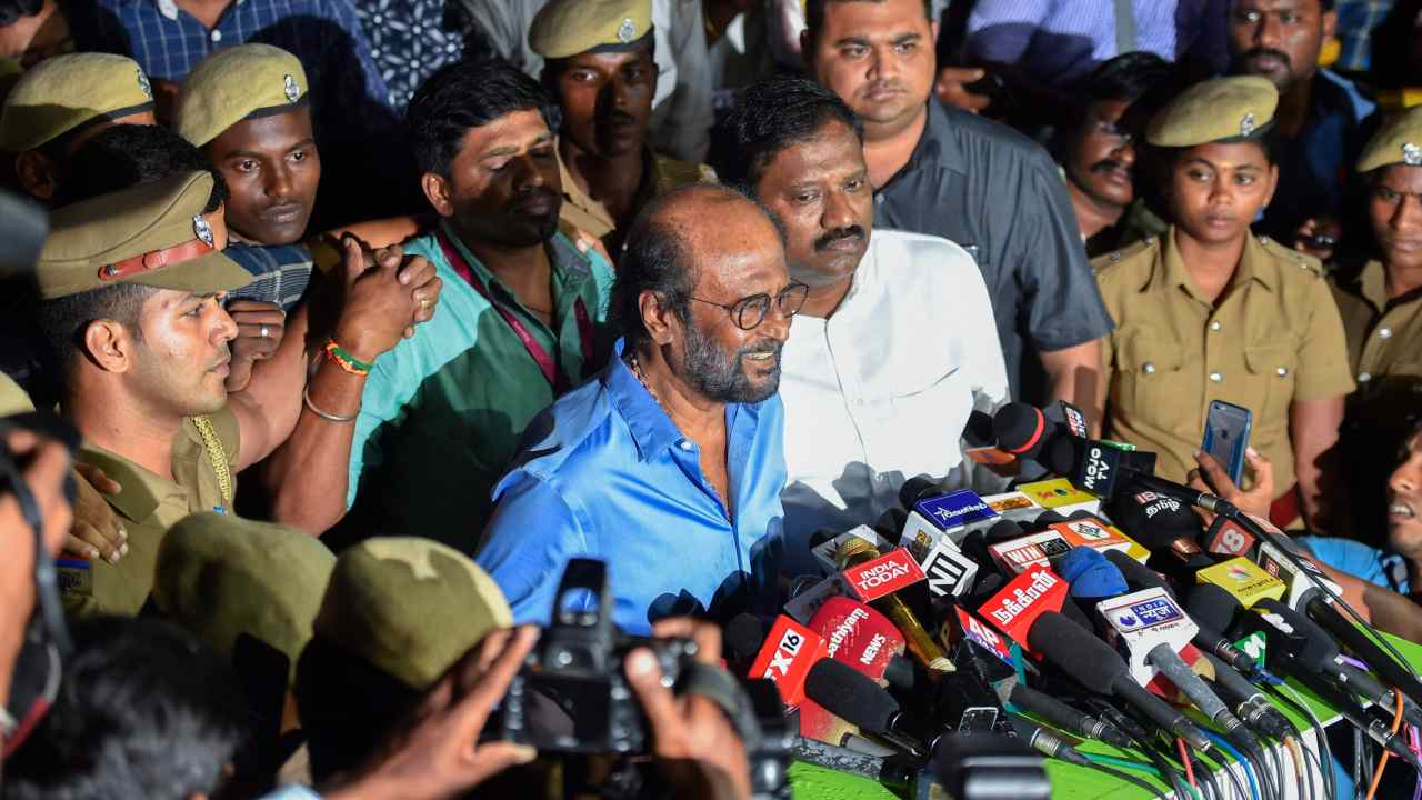 Actor Rajinikanth addresses the media after visiting the ailing DMK president M Karunanidhi at the Kauvery Hospital, in Chennai. Karunanidhi is stable and continues to be treated at the ICU of the hospital for the 4th consecutive day. (PTI)