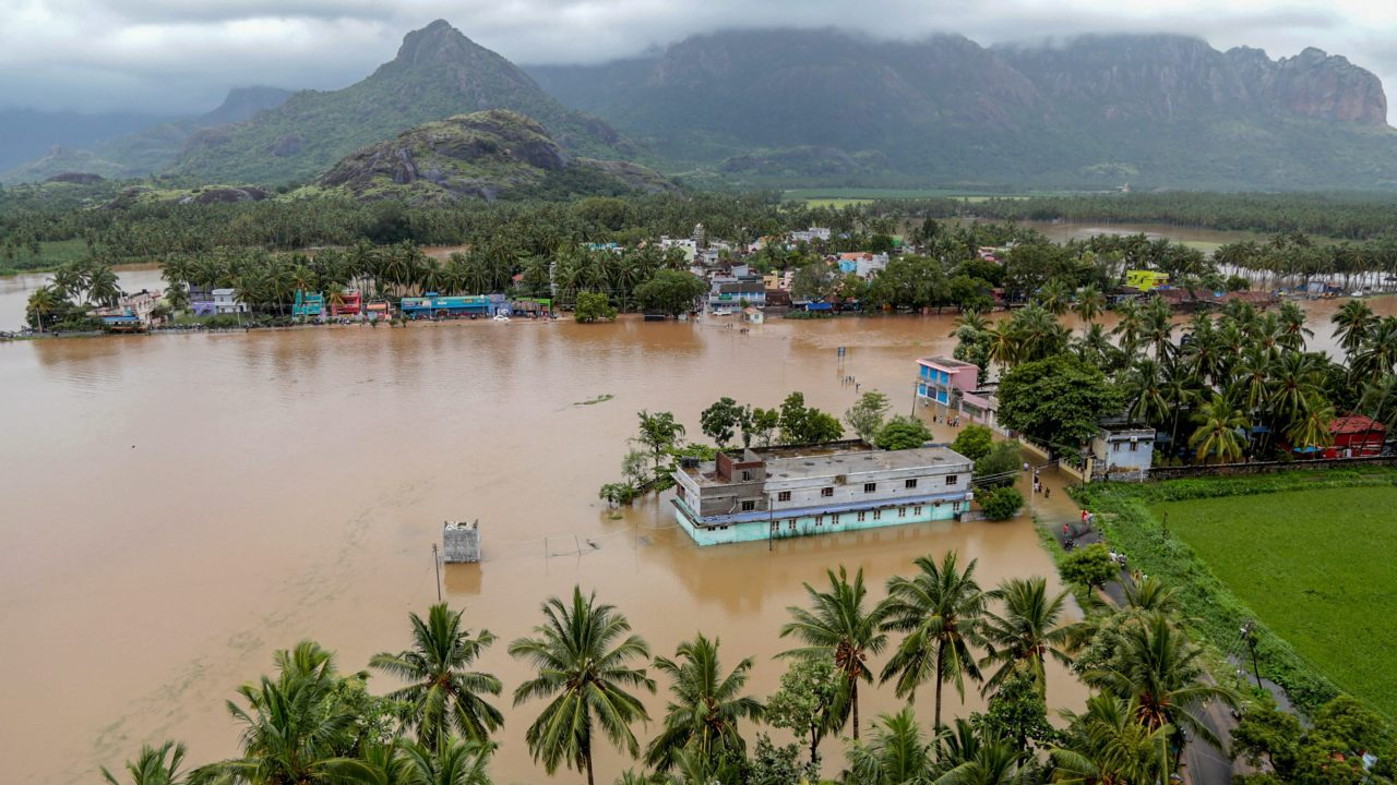 An aerial view of Derisanamcope following flash floods, triggered by heavy rain, in Nagercoil, in Kerala. (PTI)