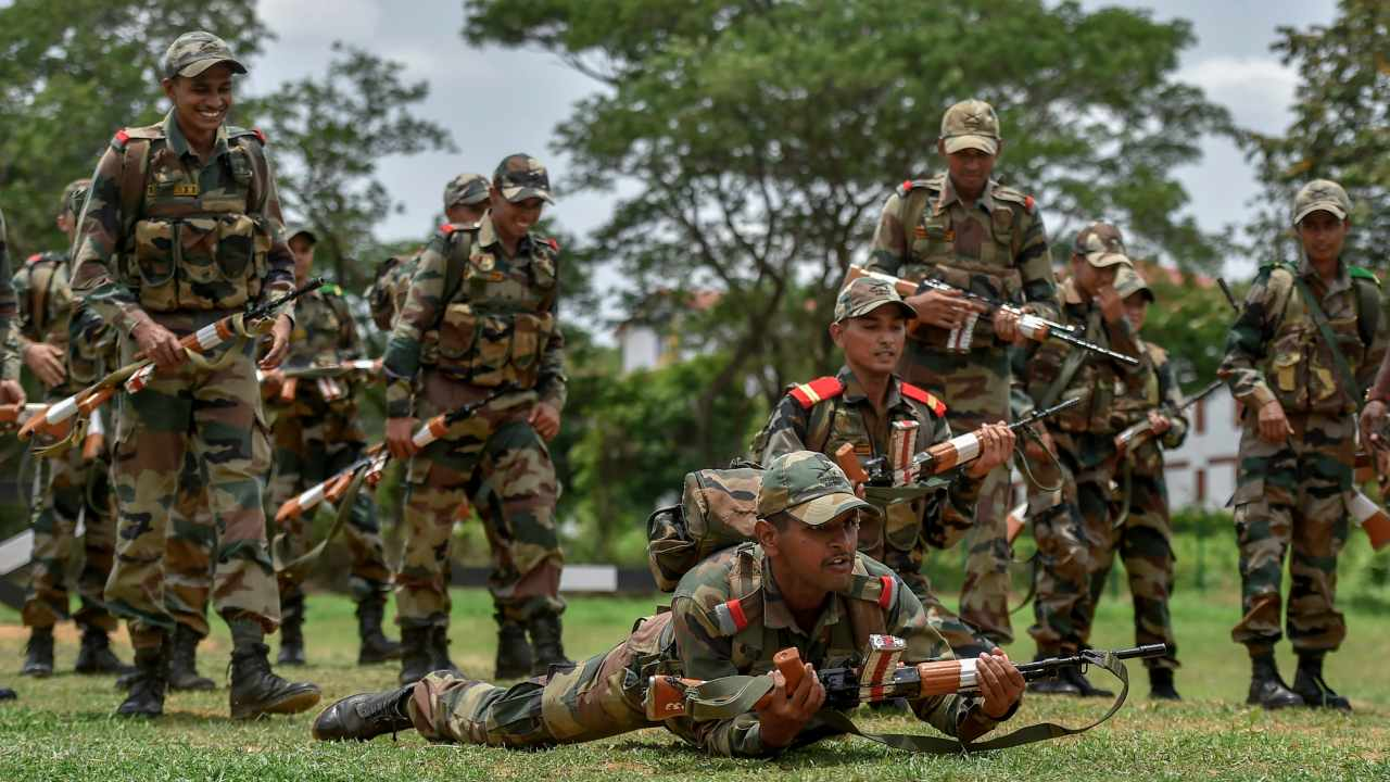 Cadets at their weapons training at the Officers Training Academy in Chennai. Both men and woman cadets displayed their warfare strategies, physical training, equestrian skills and weapons training among other things. (PTI)