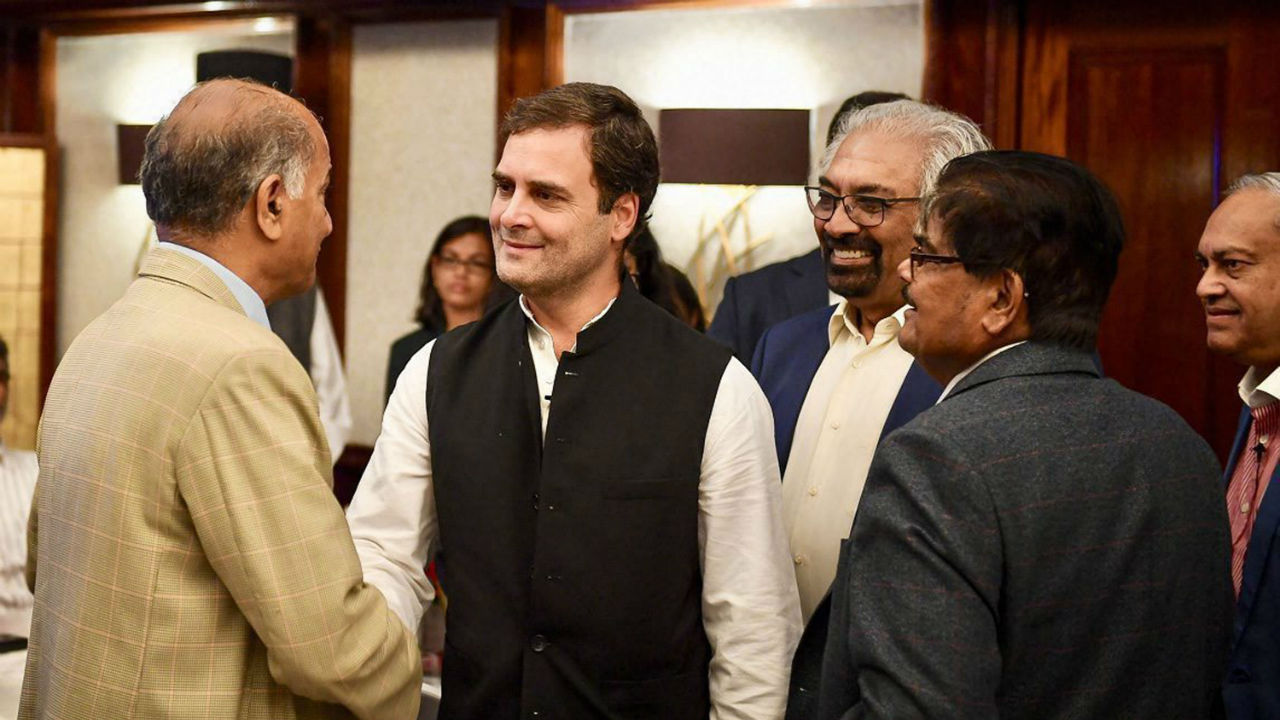 Congress President Rahul Gandhi Interaction with Indian Journalists' Association in London. (Image: PTI)