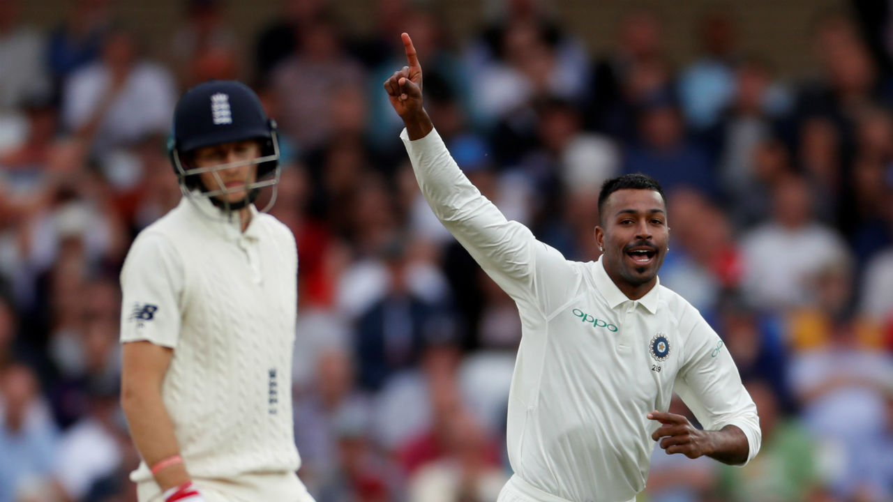 All-rounder Hardik Pandya bowled a fiery spell as he tore through the England batting line up in the second session. He took 5 wickets while giving away just 28 runs. He scalped England skipper Joe Root, Jonny Bairstow, Chris Woakes, Adil Rashid and Stuart Broad. This was Pandya's first 5WI in Tests. (Image- Reuters)