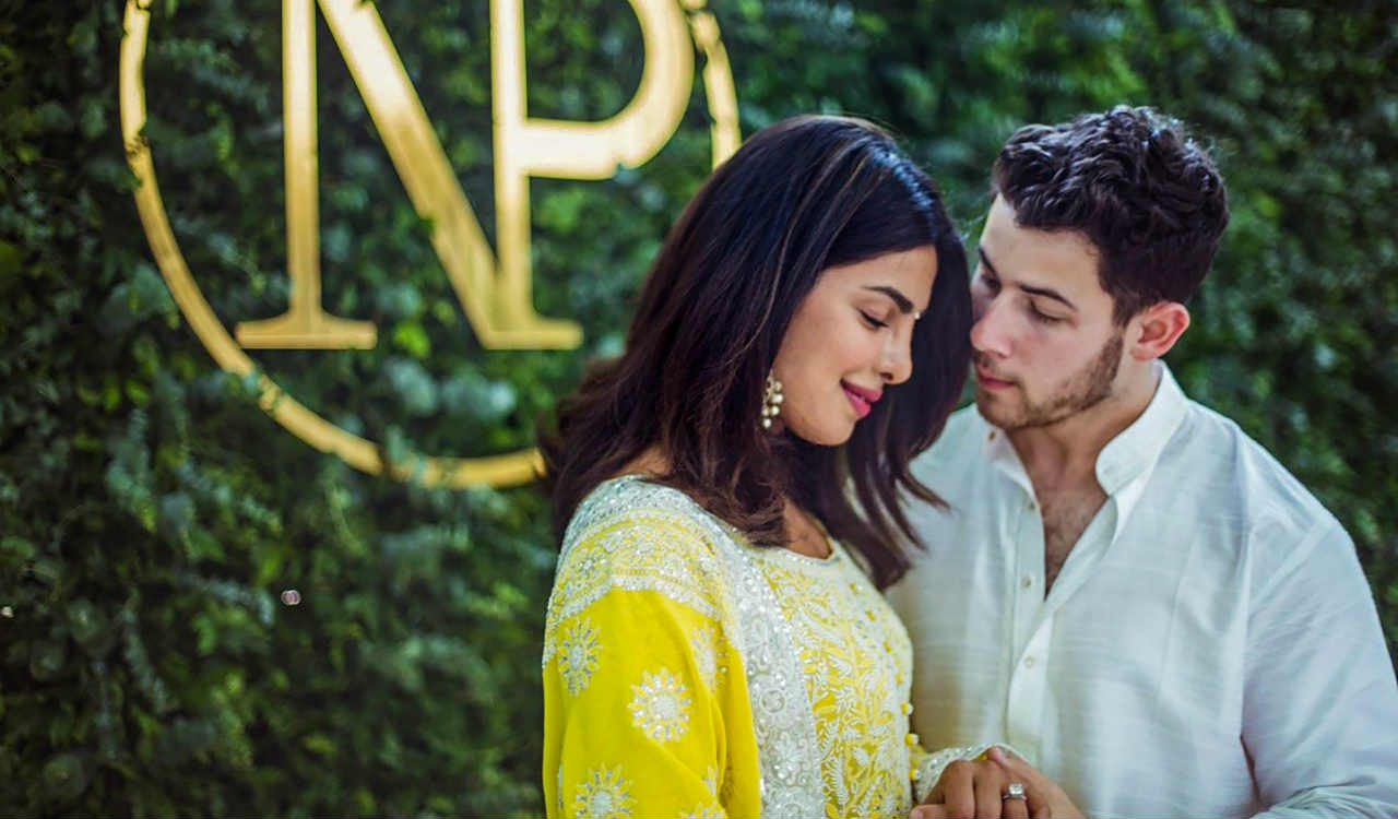 Bollywood actor Priyanka Chopra and American singer Nick Jonas during a ceremony to perform pre-wedding rituals at her Juhu residence, in Mumbai. (PTI)