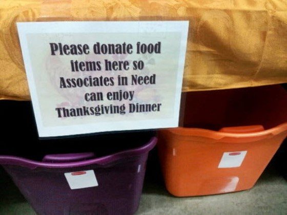 """Q2. A store of this chain is holding a food drive for its employees with low compensations. Signs attached to bins located in employee backrooms ask workers to """"donate food items here so associates in need can enjoy Thanksgiving dinner."""" Which retail chain is this happening in?"""