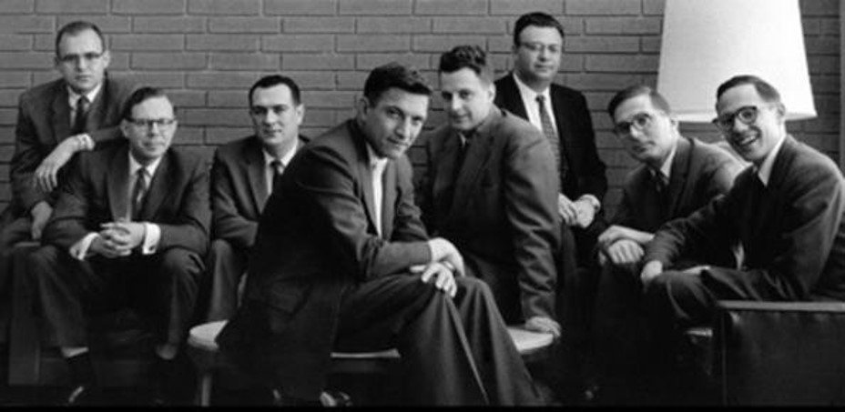 Q20. What was the two word nickname given to this group of eight people who left a company to another one on their own in 1957? Also, what is the name of the new company formed by them?