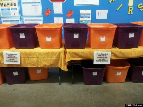Answer: Walmart. The food donation drive is happening in its Canton, Ohio, store.