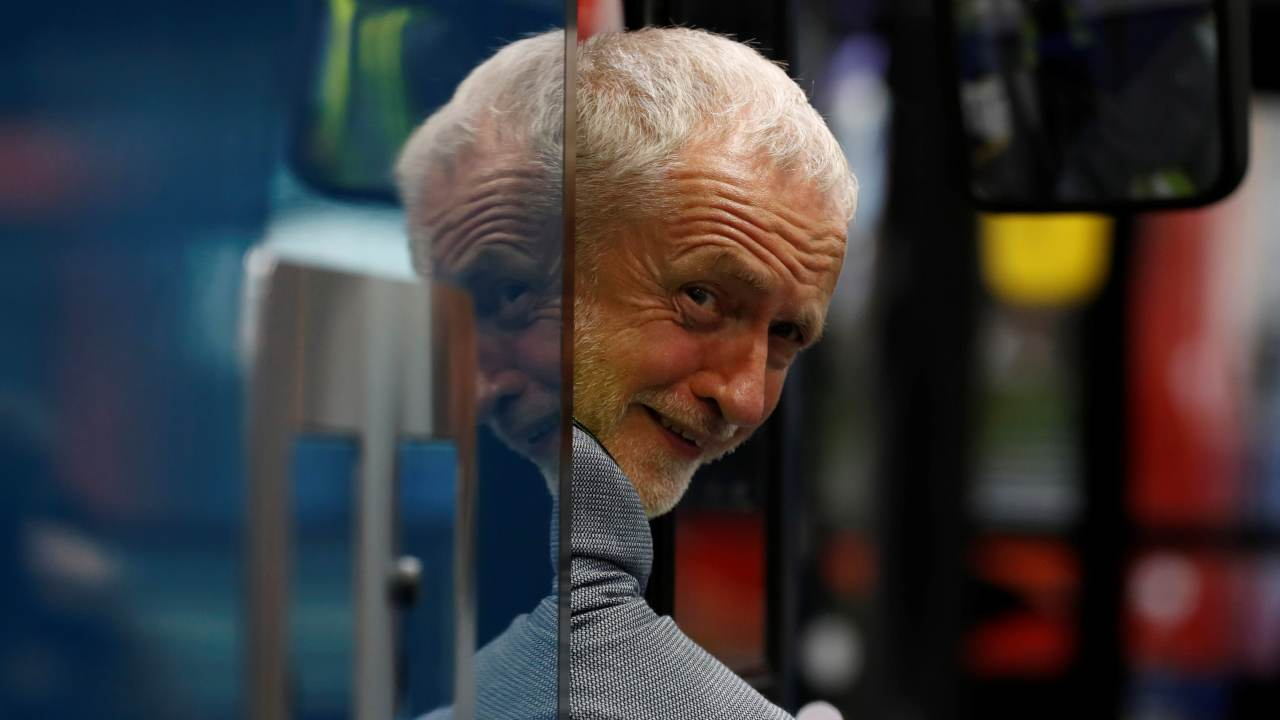 Jeremy Corbyn, the leader of Britain's Labour Party, visits the Alexander Dennis Bus Factory in Falkirk, Scotland, Britain. (REUTERS)