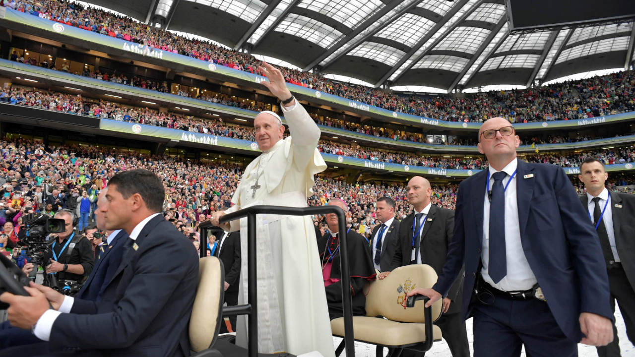 Pope Francis waves as he attends the Festival of Families at Croke Park during his visit to Dublin, Ireland. (Image: Reuters)