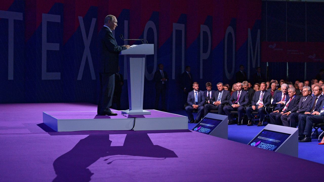 "Russia's President Vladimir Putin delivers a speech during a session of the International Forum of Technological Development ""Technoprom-2018"" in Novosibirsk, Russia. (Image Source: Reuters)"