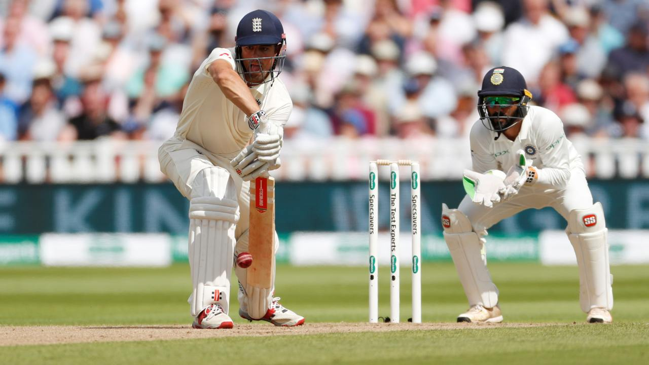 England's Alastair Cook in action at the First Test between England and India at Edgbaston, Birmingham, Britain (REUTERS)