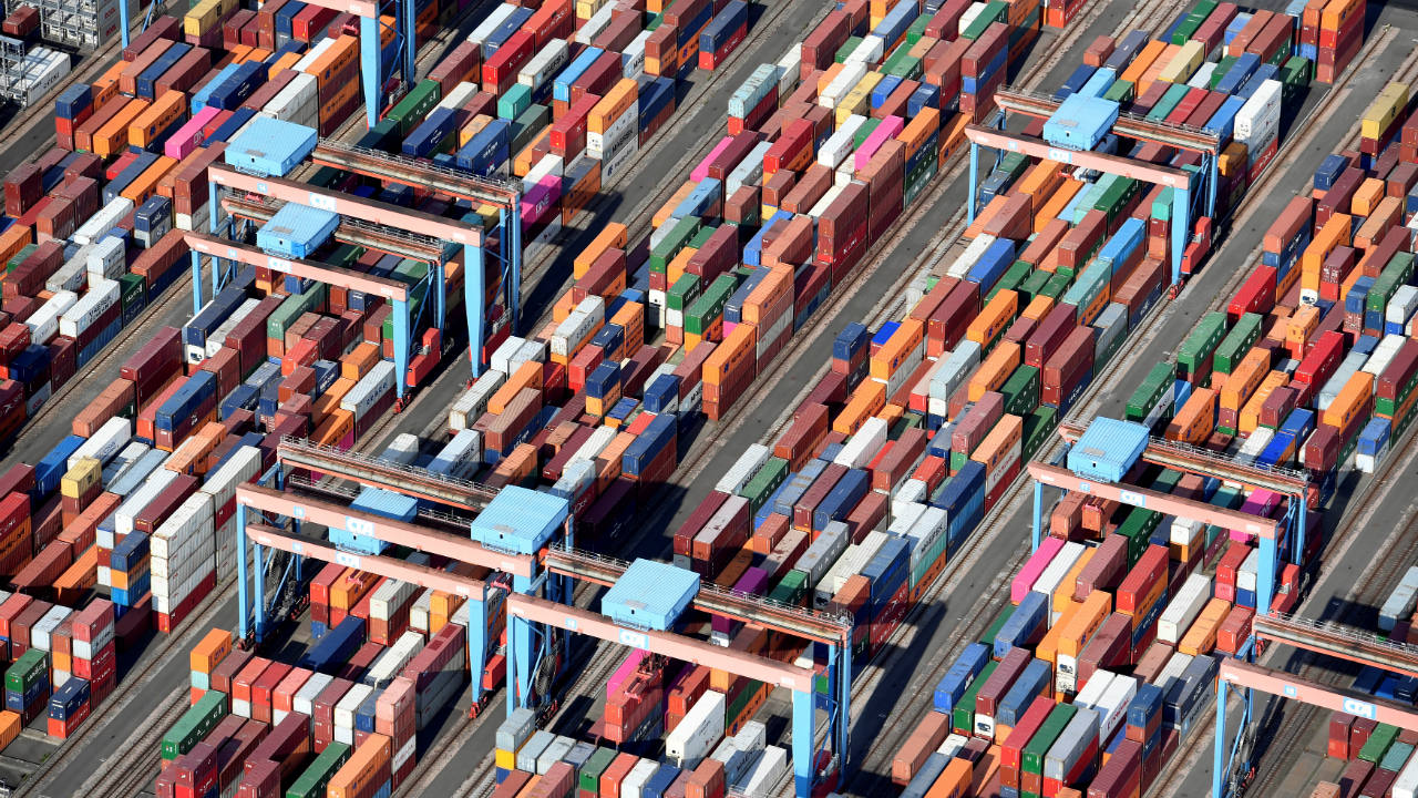 Aerial view of containers at a loading terminal in the port of Hamburg, Germany. (Image: Reuters)