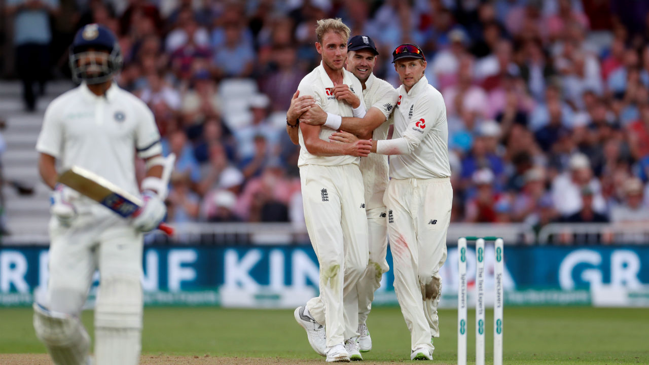 Stuart Broad finally broke the Rahane-Kohli stand after Tea as he picked up the wicket of Rahane. The batsman got a fat outside edge and the ball flew to Alastair Cook at first slip. Cook completed a superb reflex catch to send Rahane back to the pavilion. Rahane was out on 81 and his partnership with Kohli ended at 159 runs.  (Image - Reuters)