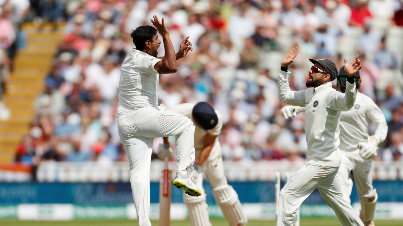 Ravichandran Ashwin was able to extract some turn from the pitch on the very first day. He cleaned up Alastair Cook with an off-spinner in just the ninth over and later took three more to finish with four wickets. (Image: Reuters)