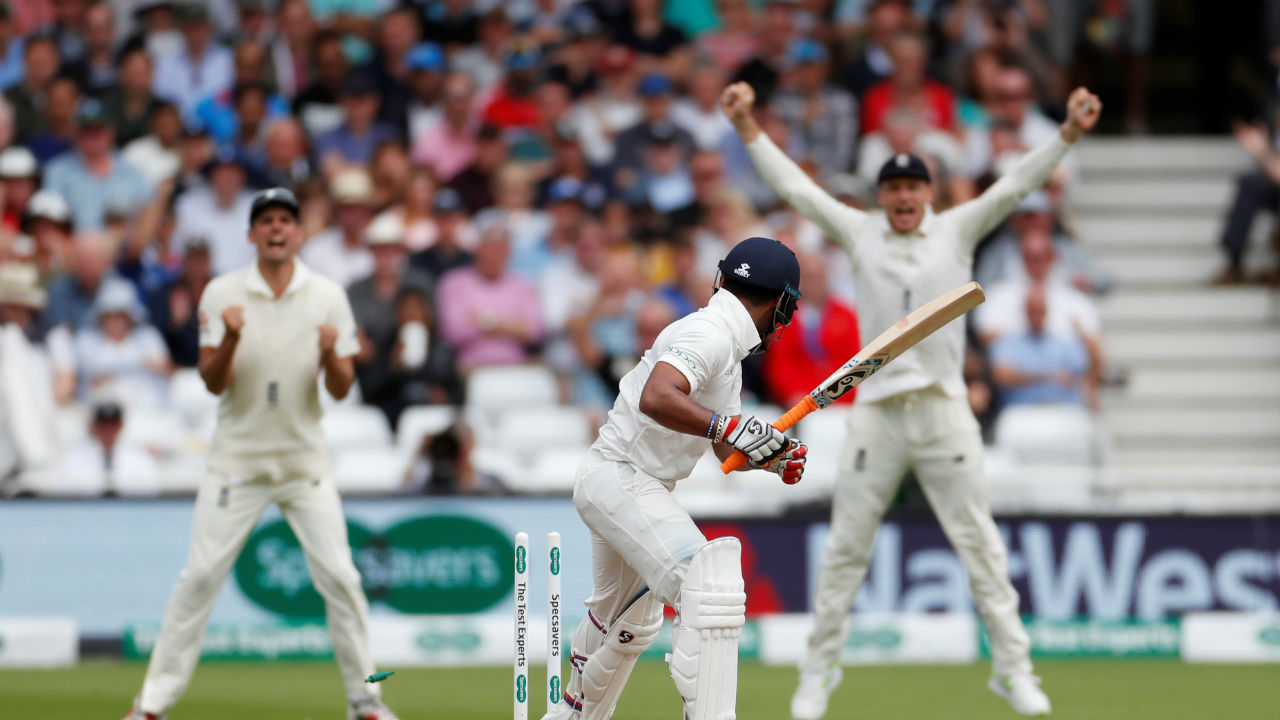 Overnight batsman Rishab Pant was India's first casualty on Day 2. Pant chased a full outside the off stump ball from England pacer Stuart Broad only to get his stumps cleaned up. The Indian batsman made 24. Broad followed this with the wicket of Ravichandran Ashwin who was also bowled. At this stage India was reduced to a 326/8. (Image - Reuters)