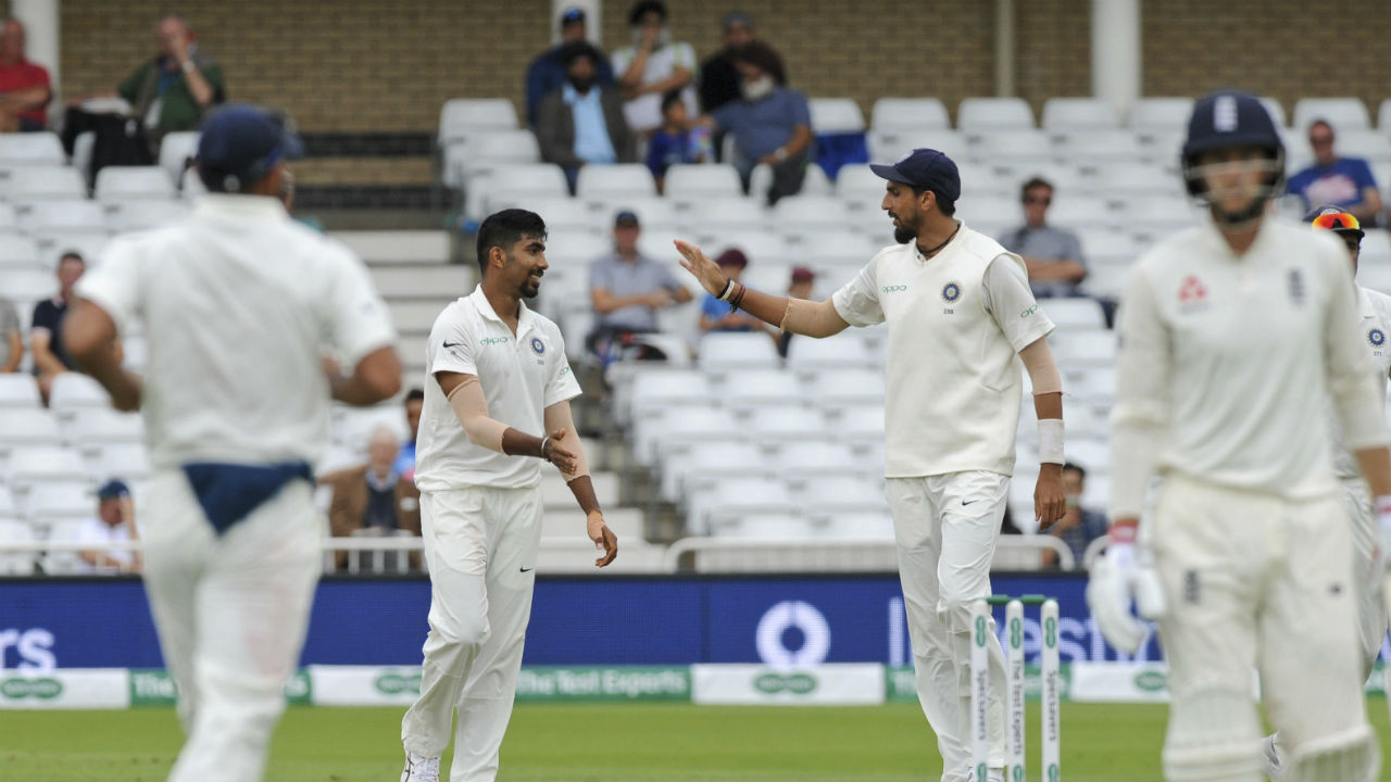 After scoring 80 in England's first innings at Edgbaston, captain Joe Root has hit a lean patch. His poor form continued at Trent Bridge as he got out for just 13 off 40 balls. Jasprit Bumrah got him to edge one to KL Rahul, who took a fine catch at second slip. (Image - AP)