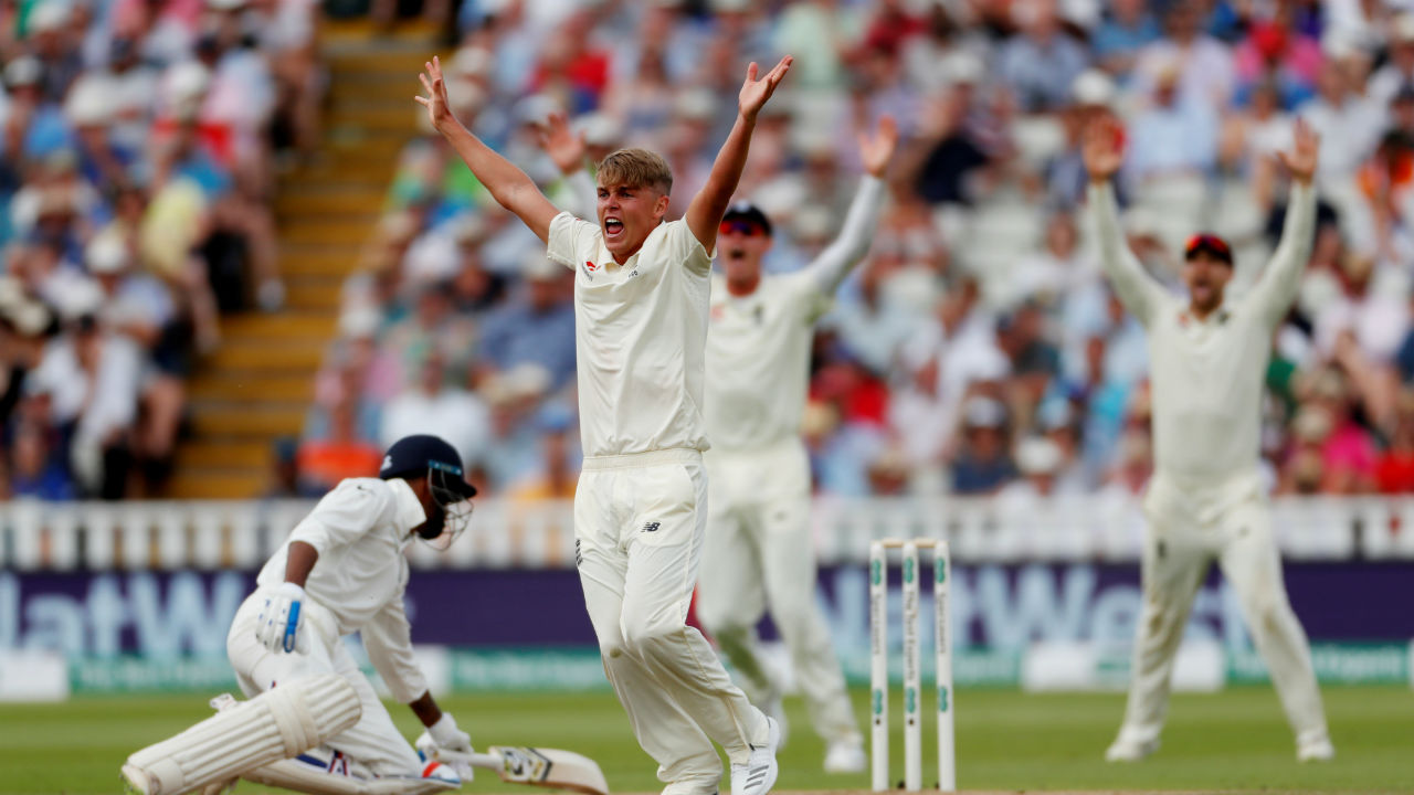 Sam Curran playing just his second test match turned out to be a surprise package. He got the important wickets of Murali Vijay, Shikhar Dhawan, KL Rahul and Hardik Pandya to leave India's first innings in tatters, finishing with four wickets in the first innings. (Image: Reuters)