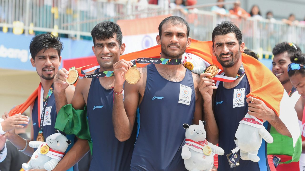 Sawarn Singh, Bhokanal Datta Baban, Om Prakash, Sukhmeet Singh | Men's Quadruple Sculls | Gold (Image: PTI)