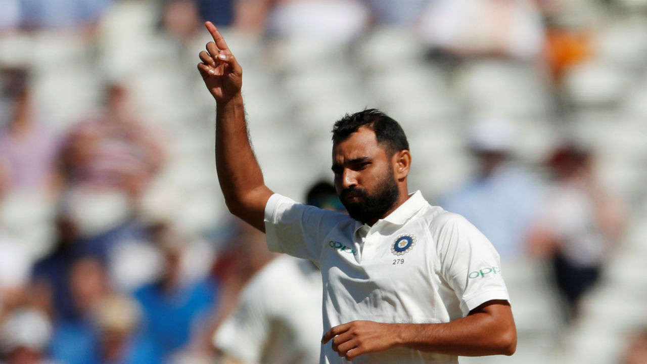 It took just 10 balls after the start of play on Day 2 of the Birmingham Test for India to bowl out England for 287 with Mohammed Shami getting Sam Curran caught behind with a lethal outswinger. (Image: Reuters)