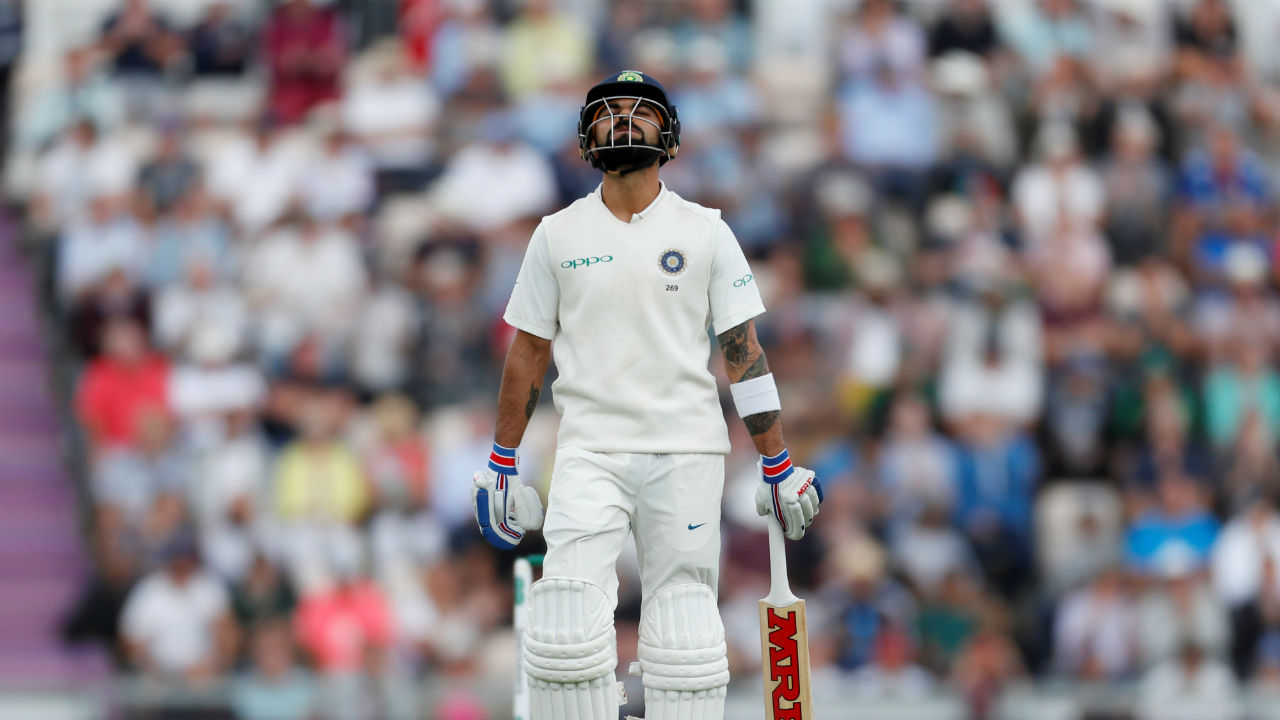 Virat Kohli was soon dismissed after Lunch as he edged a Sam Curran delivery to Alastair Cook. Kohli made 46 off 71 balls. At this stage India's score read 146/3. (Image - Reuters)