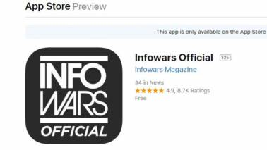 Apple might have banned Alex Jones but his Infowars app ranks at number 4 on their App Store