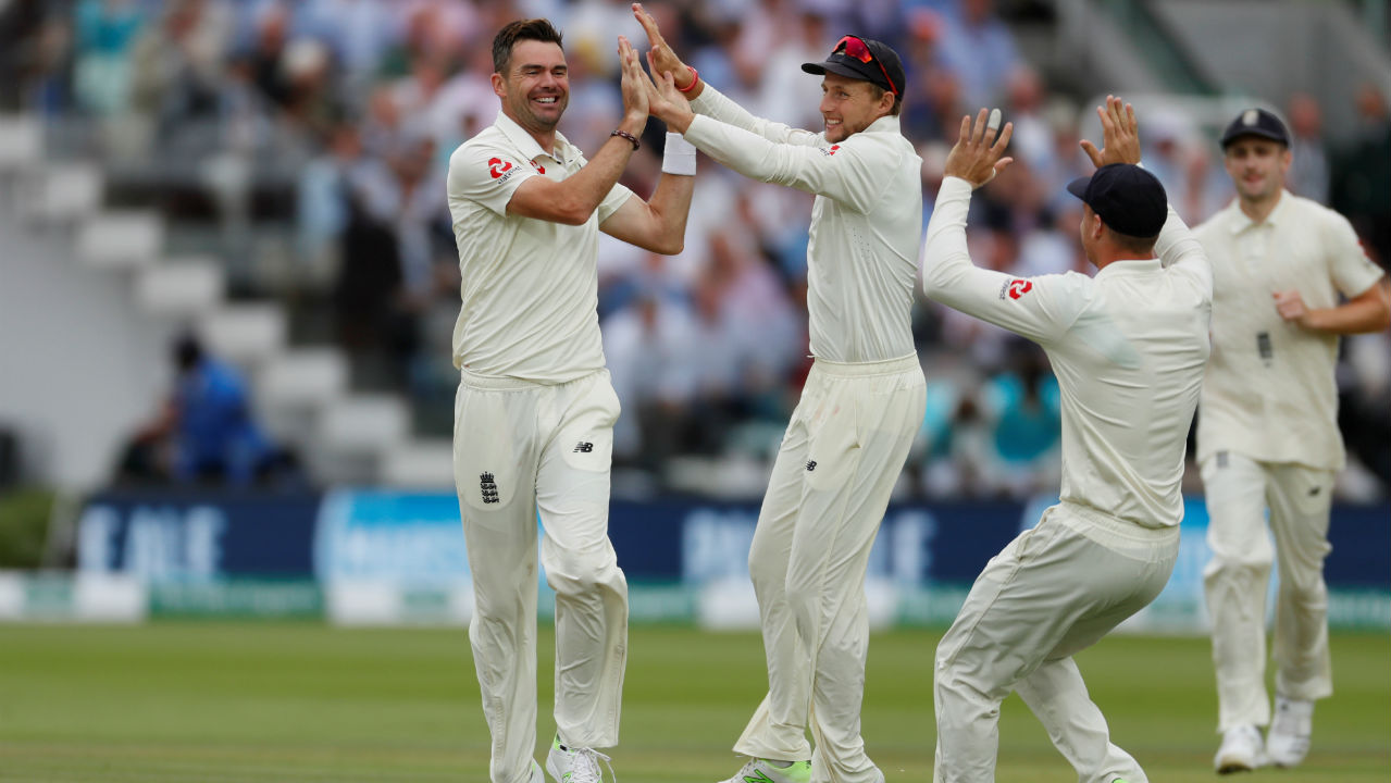 Broad chipped in with one wicket getting Ashwin caught LBW in the 35th over. But the day's headlines belong to James Anderson who scalped Rahane, Kuldeep and Ishant to complete his sixth 5-wicket haul at Lord's, putting England firmly in the drivers seat. India were 107 all-out in just 35.2 overs. (Image: Reuters)