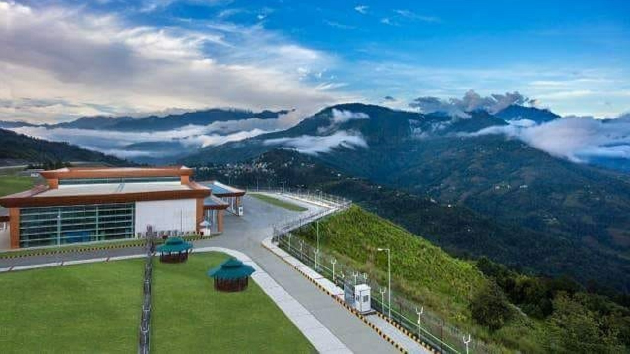 The airport is spread over 201 acres. It is located on top of a hill about two km above Pakyong village at 4,500 feet above sea level. (Image: Airports Authority of India)