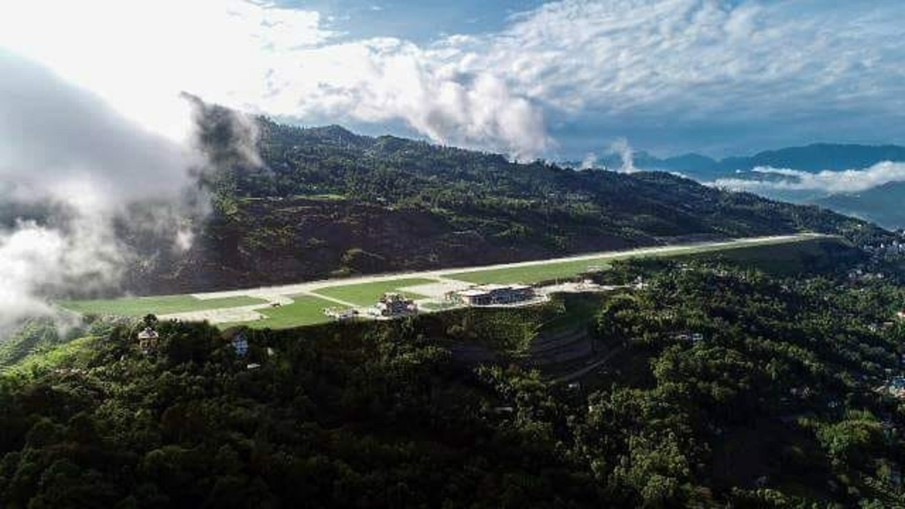 The airport is seen as an engineering marvel for its soil reinforcement and slope stabilisation techniques, keeping in view the altitude it was built at. (Image: Airports Authority of India)