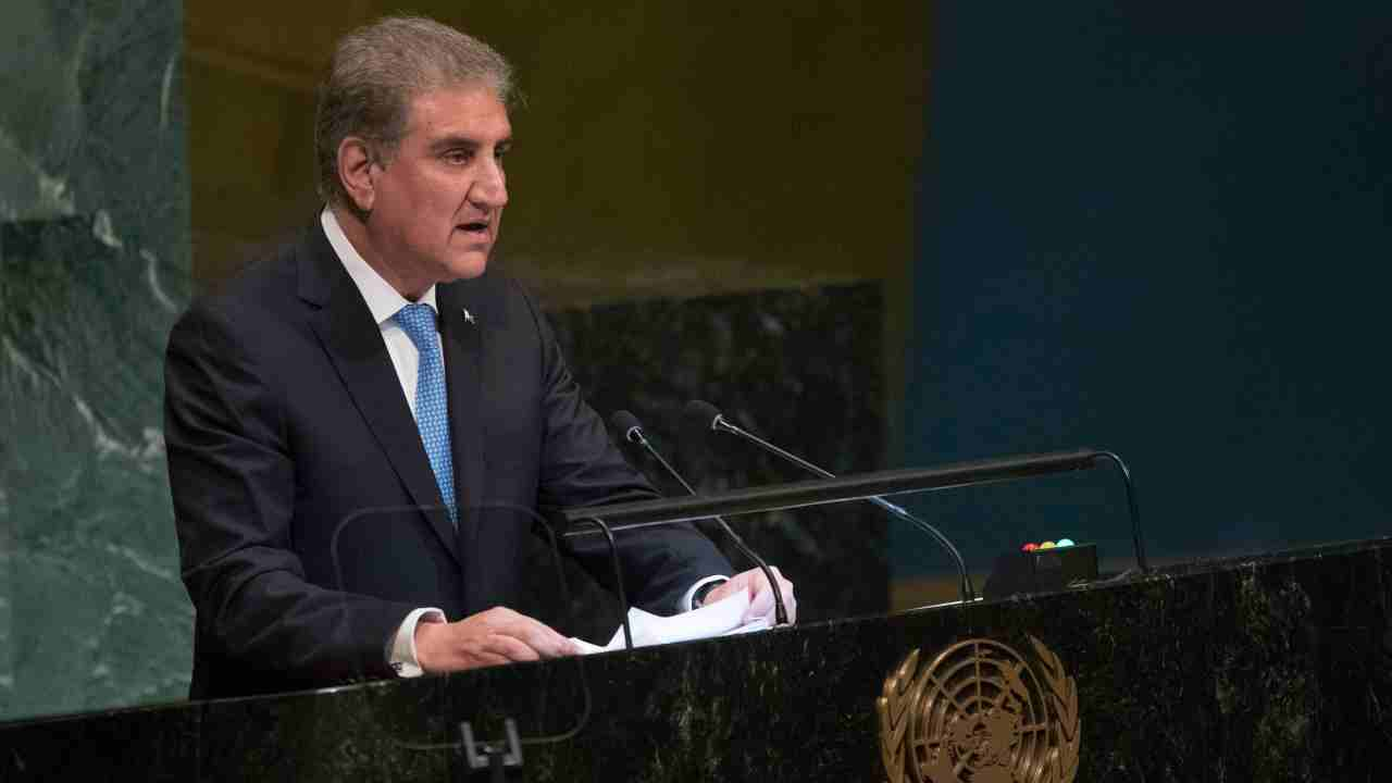 Pakistan's Foreign Minister Makhdoom Shah Mahmood Qureshi addresses the 73rd session of the United Nations General Assembly at UN headquarters. (AP/PTI)