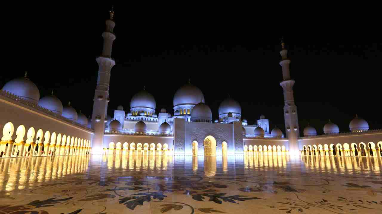 Sheikh Zayed Grand Mosque is seen illuminated after evening prayers in Abu Dhabi, United Arab Emirates. The Sheikh Zayed Grand Mosque is one of the largest mosques in the world with a capacity of more than 40,000 worshippers. (AP/PTI)