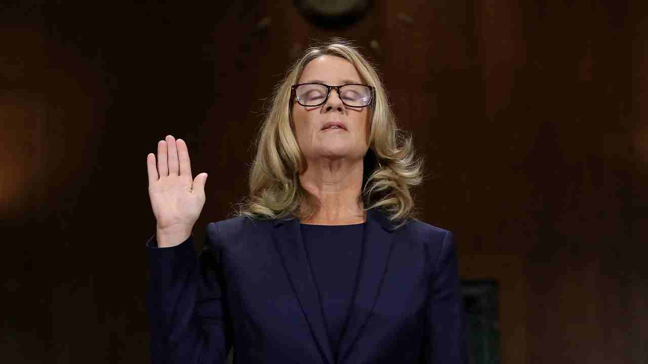 Christine Blasey Ford is sworn in before testifying the Senate Judiciary Committee in the Dirksen Senate Office Building at the Capitol Hill in Washington, DC, US. (Reuters)