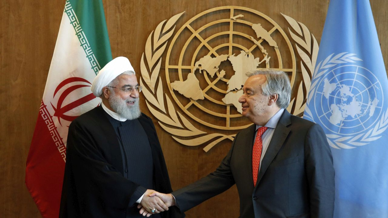 Iranian President Hassan Rouhani, left, meets with United Nations Secretary General Antonio Guterres on the sidelines of the 73rd session of the United Nations General Assembly, at UN headquarters. (AP/PTI)