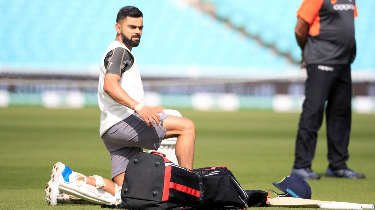 Virat Kohli attends a nets session ahead of India's fifth cricket test match against England beginning on Friday, at The Kia Oval, London. (Image: PTI)