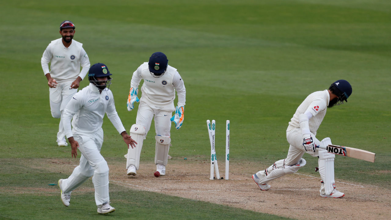 Moeen Ali who came out to bat at fall of Jennings' wicket was then bowled by Jadeja. Ali made 20 off 52 balls. He gave Alastair Cook good support for the little time he was there at the centre.(Image: Reuters)