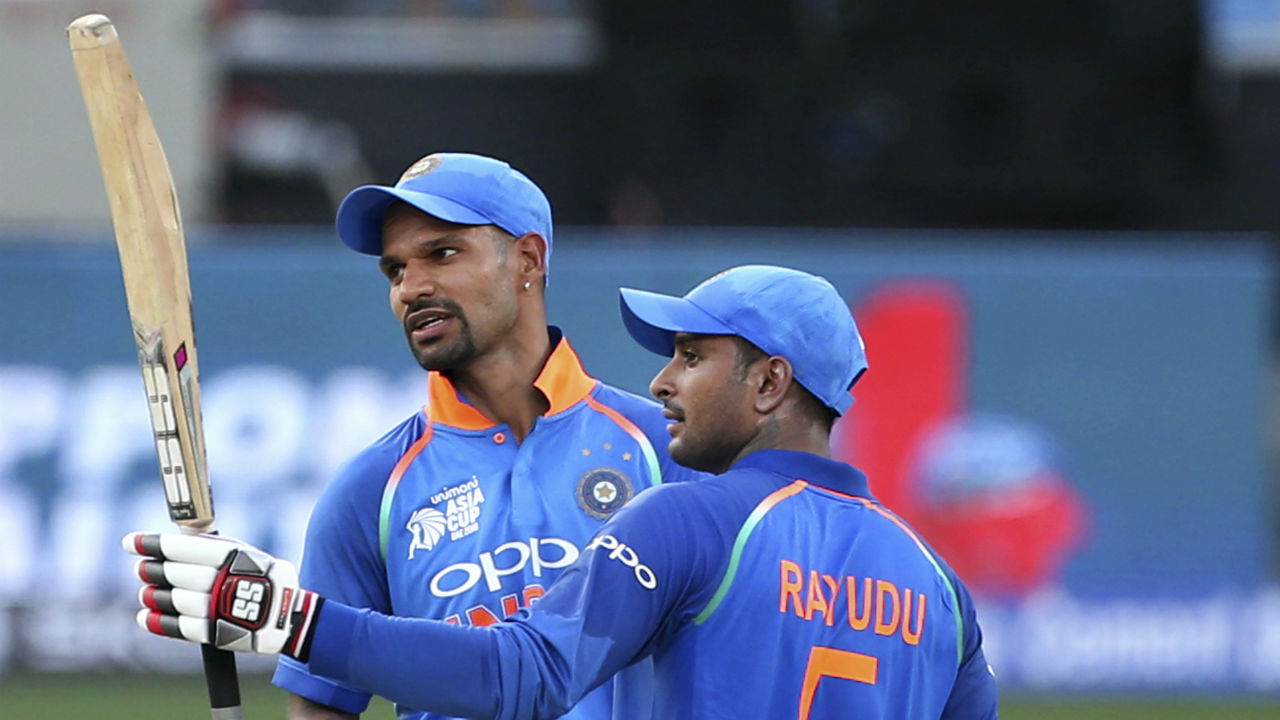 Following Sharma's dismissal, Shikhar Dhawan and Ambati Rayudu stitched together a 116-run partnership from 130 deliveries. Both batsmen brought up their half-centuries during that stand. Ambati Rayudu was caught behind in the 30th over as he was looking to play the uppercut against Ehsan Nawaz. (Image: AP)