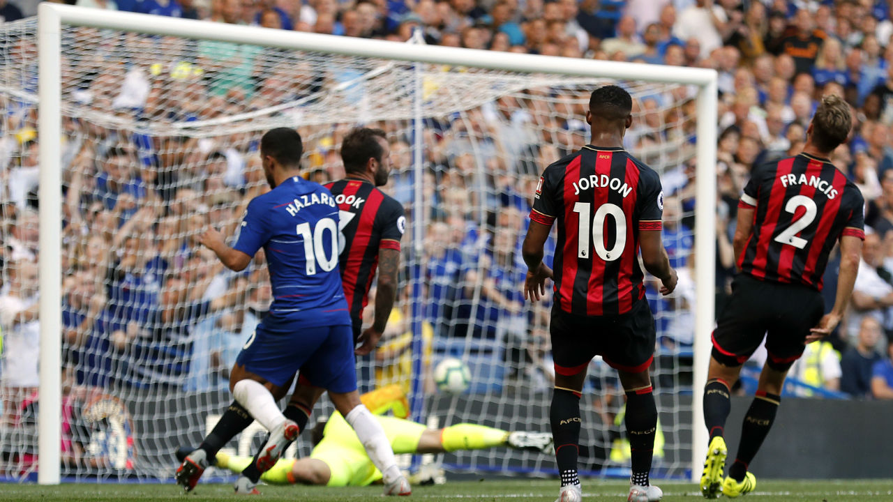 Chelsea 2 - 0 Bournemouth| Chelsea too stretched their perfect Premier League start to four games after second-half goals from substitute Pedro and Eden Hazard gave them a 2-0 home win over Bournemouth on Saturday. Manager Maurizio Sarri saw the Blues break down Bournemouth in the closing stages with a clinical performance after they had been stifled by stubborn defending for much of the contest. (Image - AP)