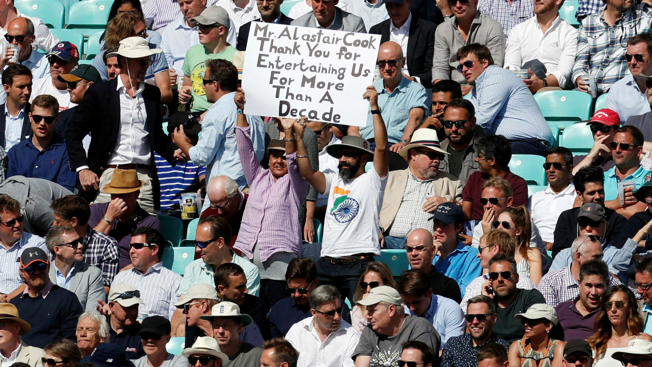 A fan in the crowd displays an emotional message for Cook, the southpaw playing his Test. The venue had many more such fans displaying their love for the player. (Image - Reuters)