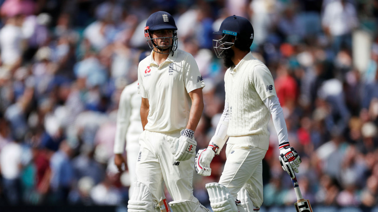 Jennings' dismissal brought Moeen Ali to the crease. Ali and Cook then played cautiously as England did not lose any further wickets till Tea. As the two walked off at the Tea break, England's score read 123/1. (Image - Reuters)
