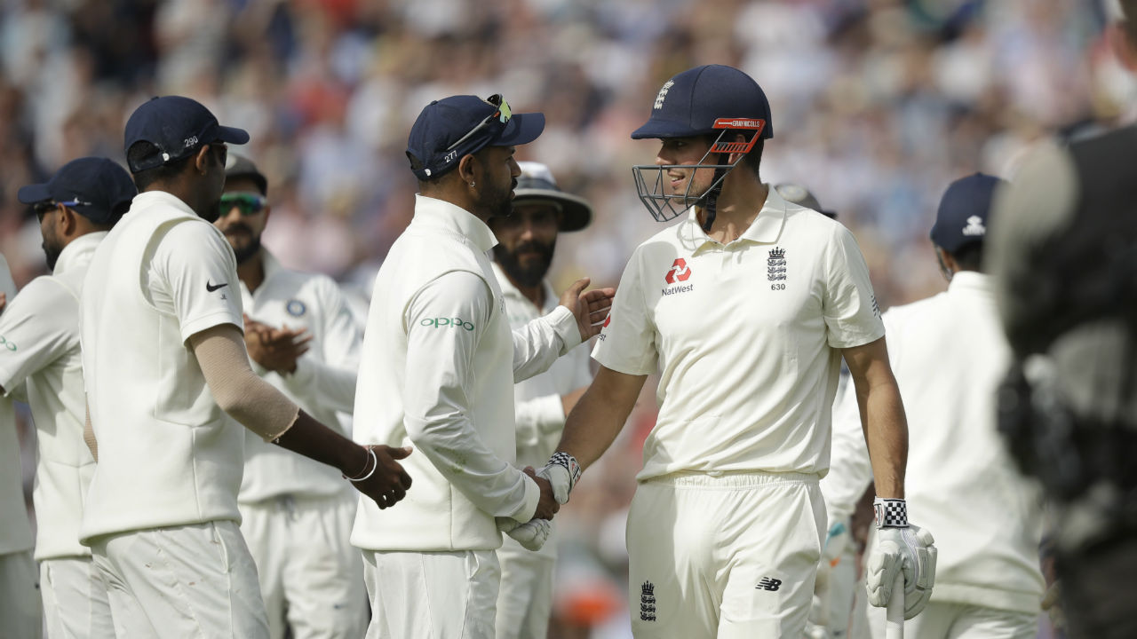Cook's innings came to an end immediately after Root's when he got an edge on Vihari's next delivery with Rishabh Pant taking the catch behind the wickets. As Cook walked off the pitch every Indian player lined up to shake hands with England's all-time leading run scorer. With two wickets from two deliveries, Vihari gave India something to build upon. (Image: AP)